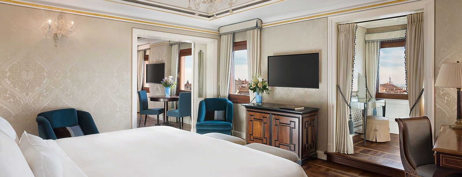 Bedroom of the Deluxe Terrace Suite at The Westin Europa & Regina, Venice